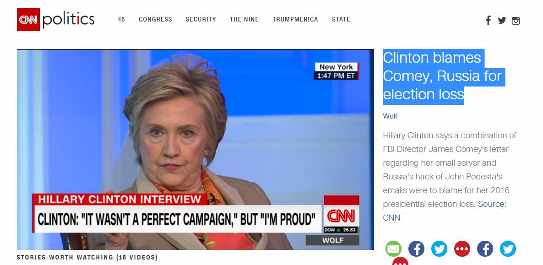 CNN: Clintonová viní Rusko a šéfa FBI zo svojej prehry