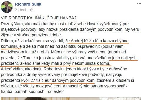 MIRO JURIŠ: Tragikomédia okamihu, keď sa Richard Sulík zastáva Andreja Kisku