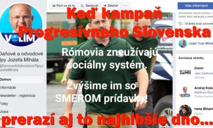 Kampaň Progresívneho Slovenska preráža dno.