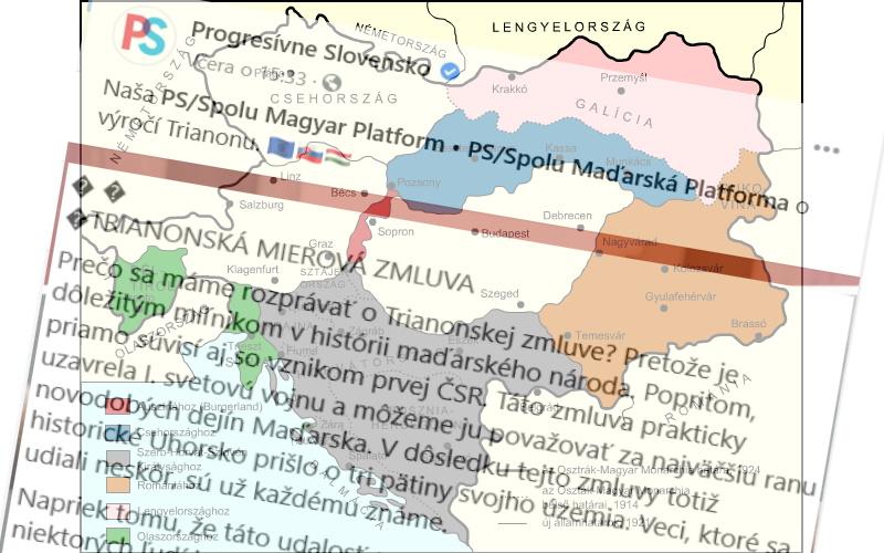 Mimoparlamentné Progresívne Slovensko považuje Trianonskú zmluvu za zlú vec.