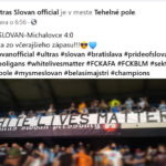 """Fanúšikovia Slovana vyvesili transparent """"Na bielych životoch záleží"""""""
